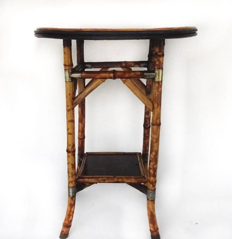 Mid-19th Century Bamboo Lacquer and Japan Bamboo Side Table For Sale