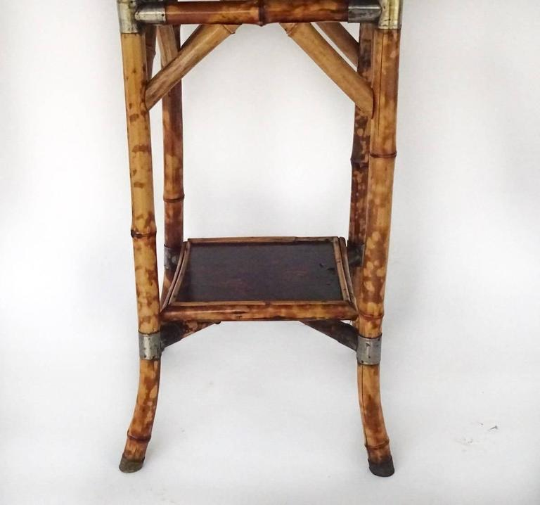 English Bamboo Lacquer and Japan Bamboo Side Table For Sale
