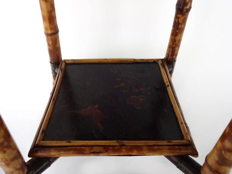 Victorian Bamboo Lacquer and Japan Bamboo Side Table For Sale