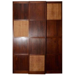 Three Solid Walnut Panels with Cane Inserts