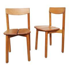 "Pair of ""Coffee Bean"" Grain De Café Chairs by Gautier-Delaye, France, 1960s"