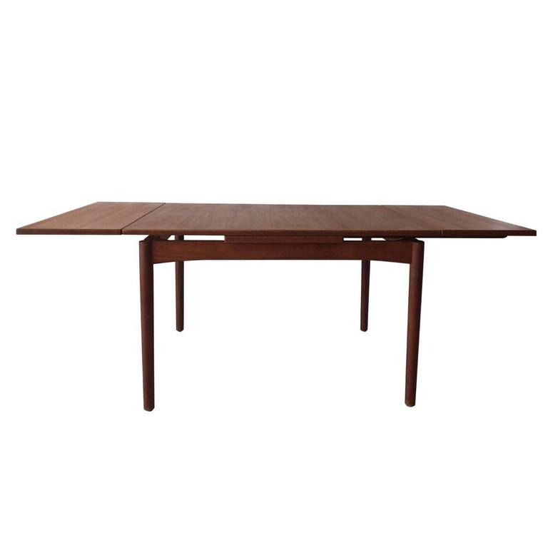 Scandinavian Draw Leaf Extendable Teak Dining Table, 1960s For Sale