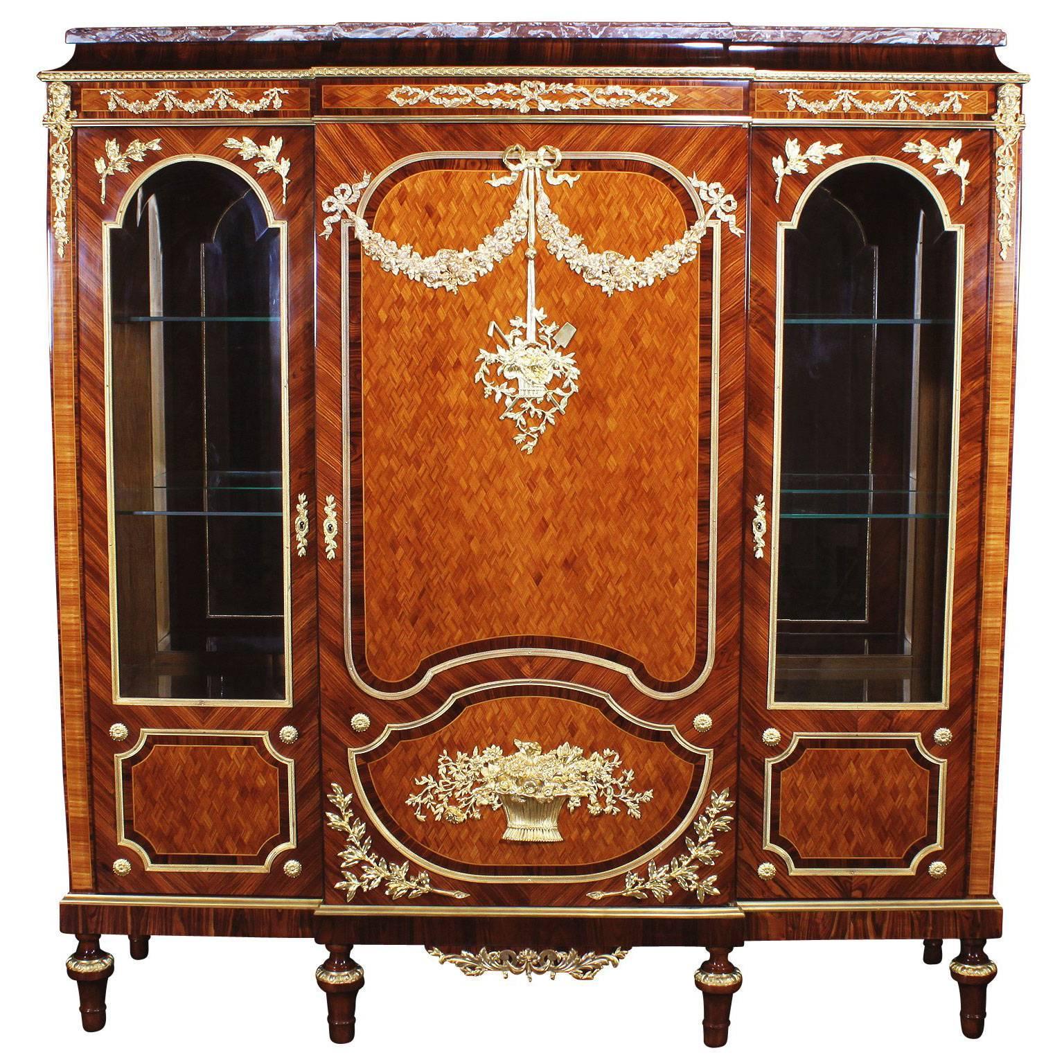 French 19th-20th Century Louis XVI Style Mahogany, Kingwood Parquetry Vitrine