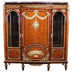 French 19th-20th Century Louis XVI Style Mahogany, Kingwood Parquetry Vitrine