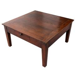 English 19th Century Square Oak Coffee Table