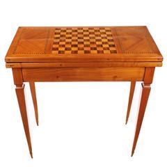 Foldable Game Table, Biedermeier, Cherry Tree, Circa 1840 1850, Chess Board