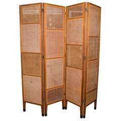 Rare Edward Wormley Four-Panel Cane and Walnut Screen