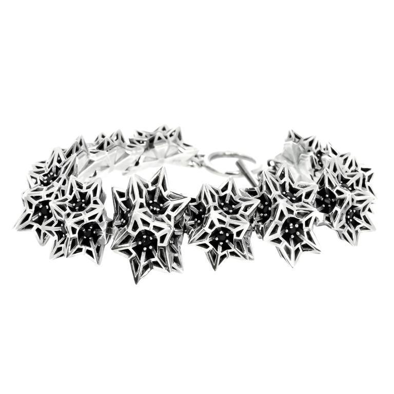 Helix Frame Black Sapphires Silver Bracelet