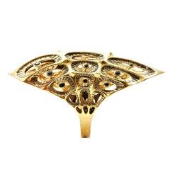 Morpho Black Diamond and 18K Gold Ring
