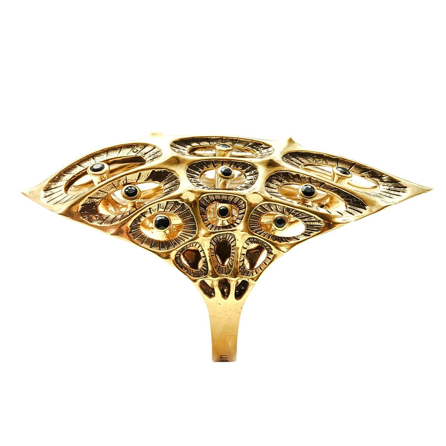 Morpho Black Diamond Gold Ring For Sale at 1stdibs