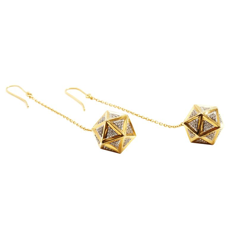 Icoso Diamond Dangle Gold Earrings