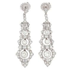 Superb Art Deco Diamond Platinum Earrings