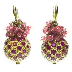 1980s Ruby Balls and Beads Gold Earrings