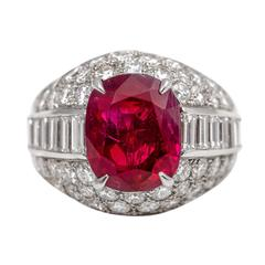 Bulgari 5.98 Carat Burma No Heat Ruby Diamond Platinum Trombino Ring
