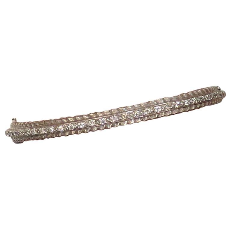 "Doris Panos 18K White Gold Bangle Bracelet ""Pathagarus"" Style"