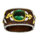 Laura Munder 76.21 Carat Green Tourmaline Wood Diamond Two-Color Gold Bracelet