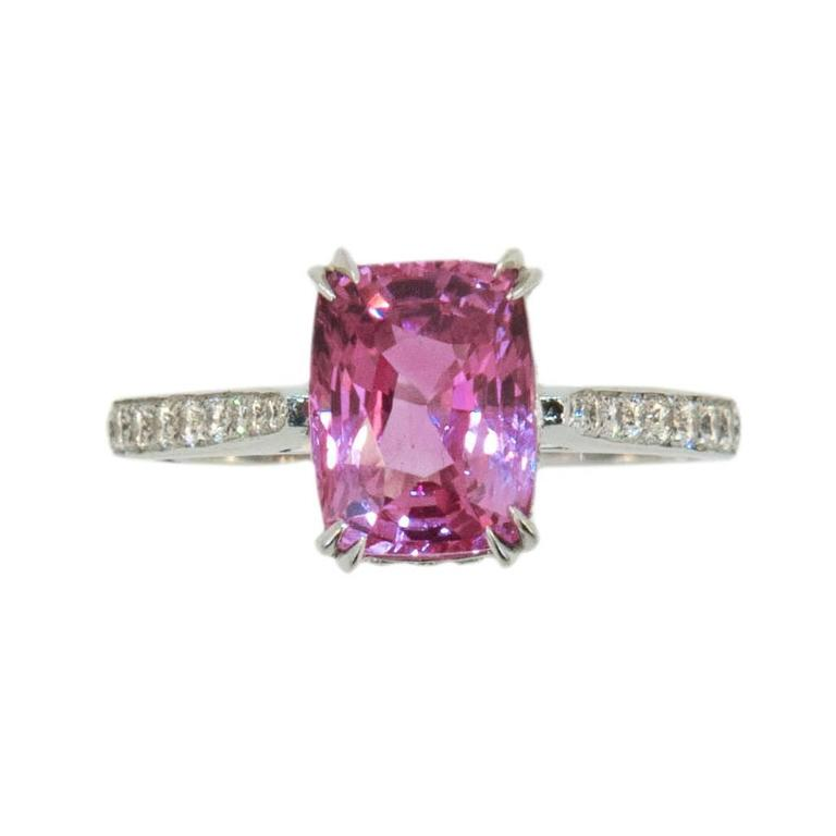 Laura Munder 3.53 Carat Cushion Cut Pink Sapphire Diamond Gold Ring  For Sale