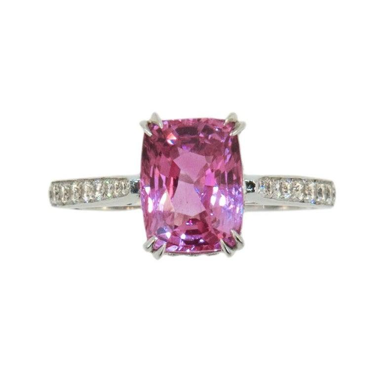 Laura Munder 3.53 Carat Cushion Cut Pink Sapphire Diamond Gold Ring  For Sale