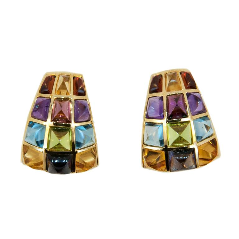 Laura Munder Multi-Colored Sugarloaf Cabochon Cut Gemstone Gold Earrings For Sale