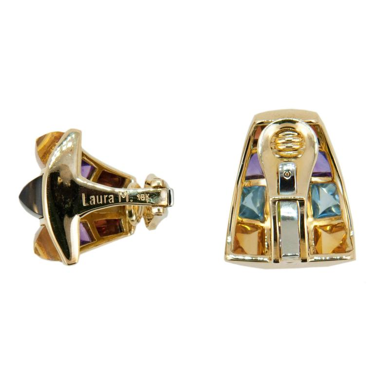 Laura Munder Multicolored Sugarloaf Cabochon Cut Gemstone Gold Earrings 2