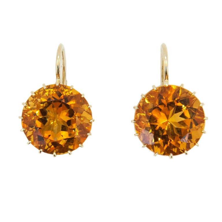 Laura Munder 13.9 millimeter Honey Citrine Drops on a Wire Gold Earrings  For Sale