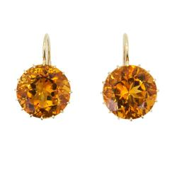 Laura Munder 13.9 millimeter Honey Citrine Drops on a Wire Gold Earrings