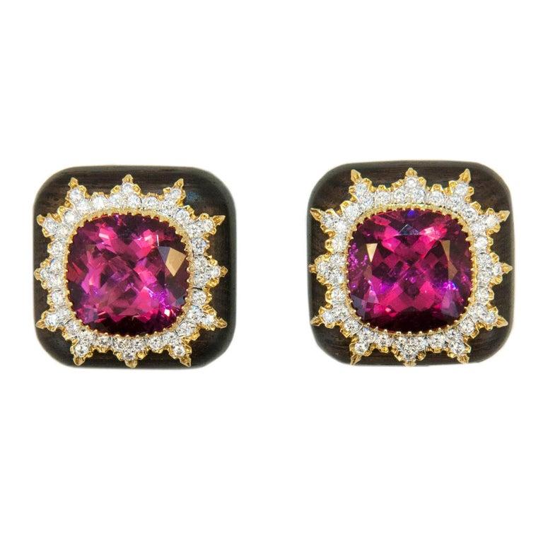 Laura Munder Rubellite Tourmaline Diamond Gold Grenadill wood Earrings For Sale