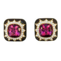 Laura Munder Rubellite Tourmaline Diamond Gold Grenadill wood Earrings