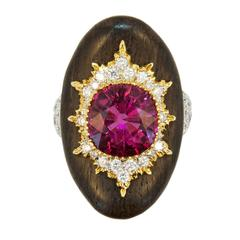Laura Munder Rubellite Tourmaline Diamond and Grenadill Wood Ring