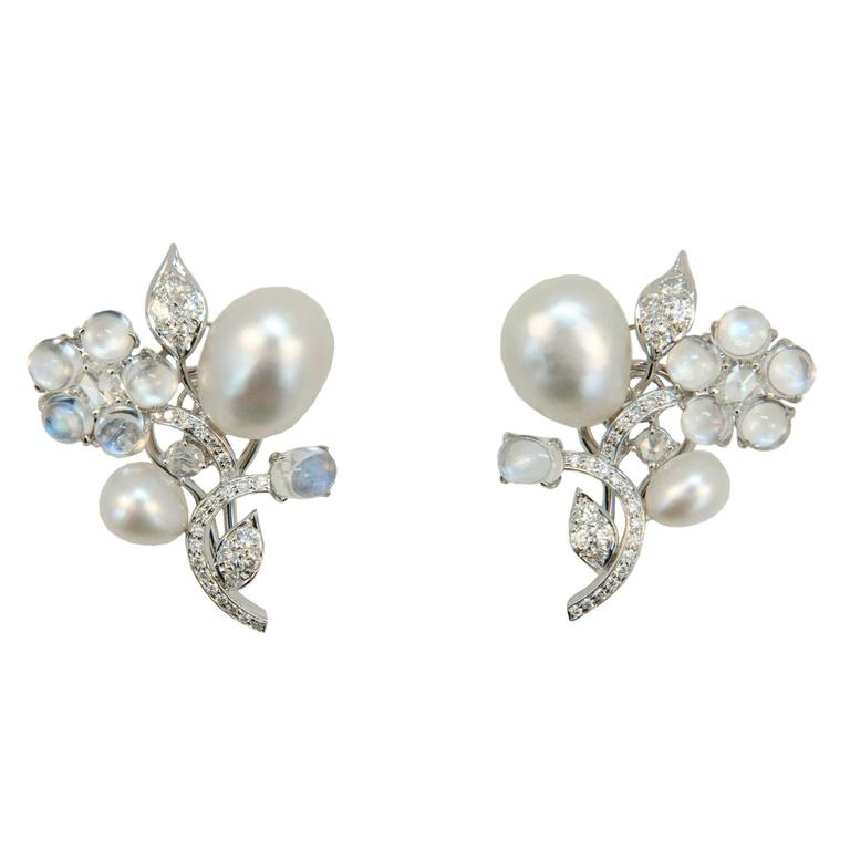 Laura Munder Keshi Pearl Moonstone Diamond White Gold Earrings