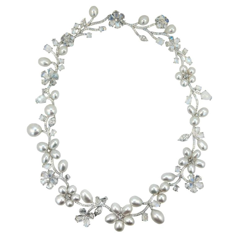 Laura Munder Keshi Pearl Moonstone and Diamond White Gold Necklace 1