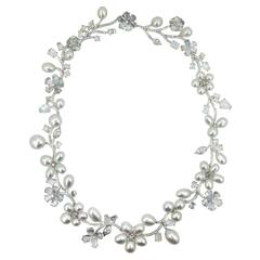 Laura Munder Keshi Pearl Moonstone and Diamond White Gold Necklace