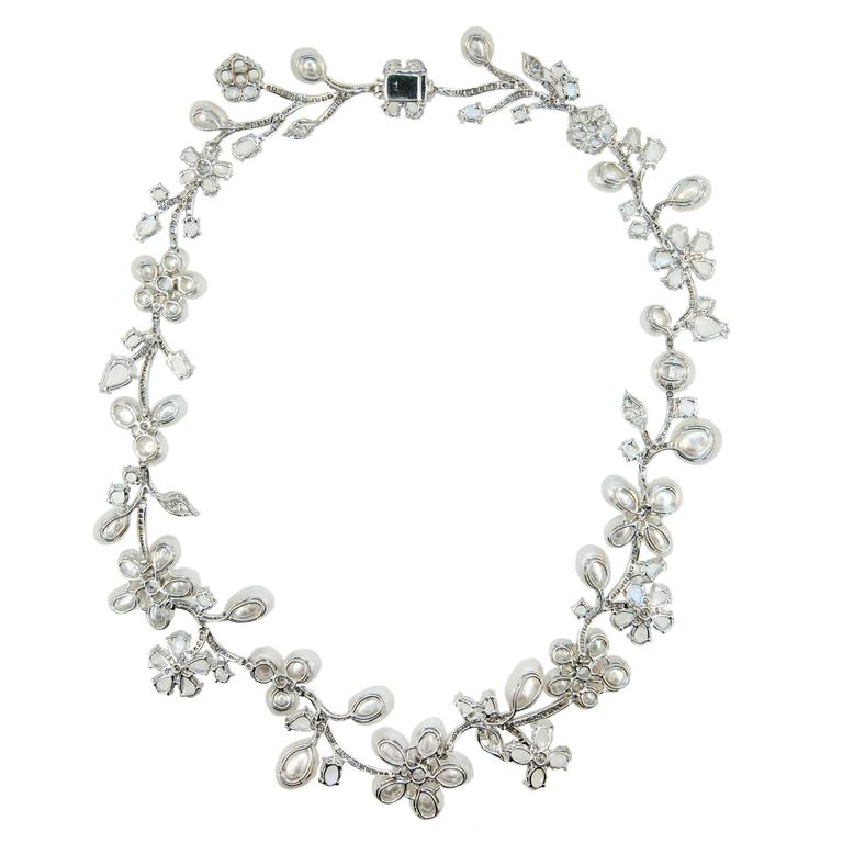 Laura Munder Keshi Pearl Moonstone and Diamond White Gold Necklace 2