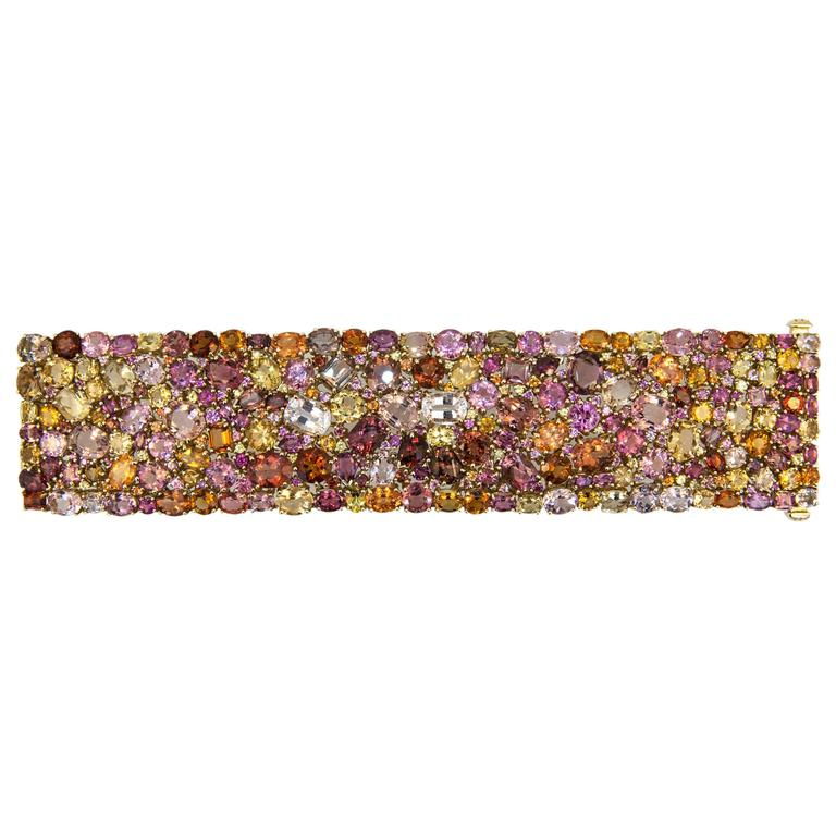 Laura Munder 176.62 carat Multicolored Faceted Gemstone Gold Bracelet 1