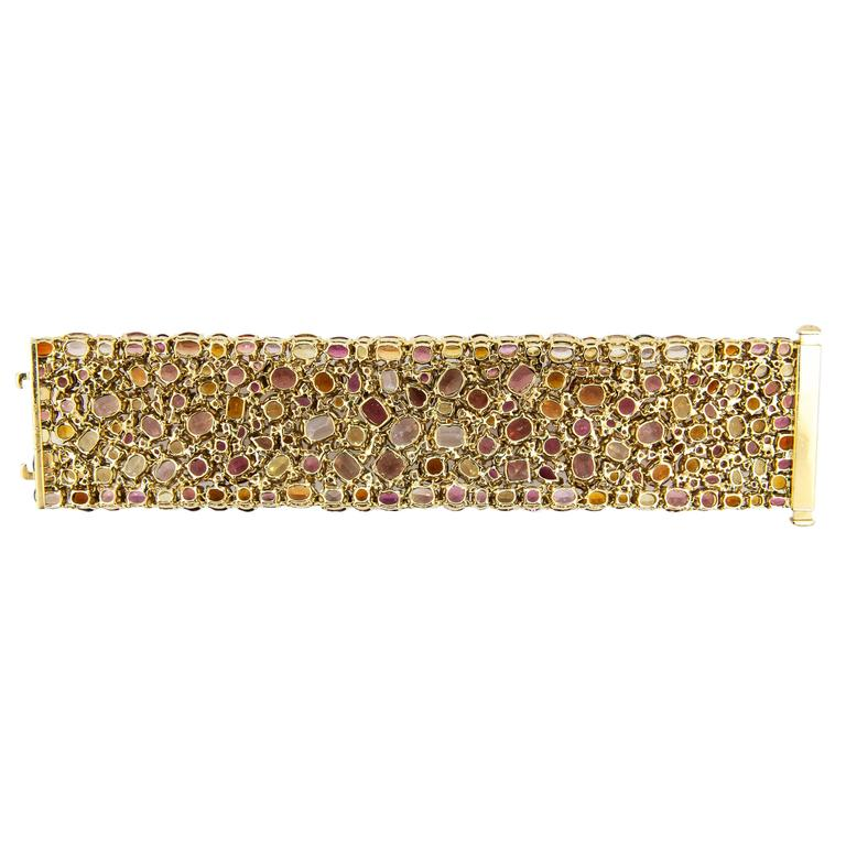 Laura Munder 176.62 carat Multicolored Faceted Gemstone Gold Bracelet 2