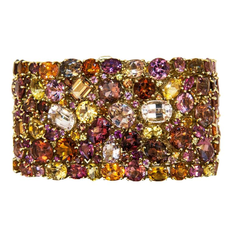 Laura Munder 176.62 carat Multicolored Faceted Gemstone Gold Bracelet 3