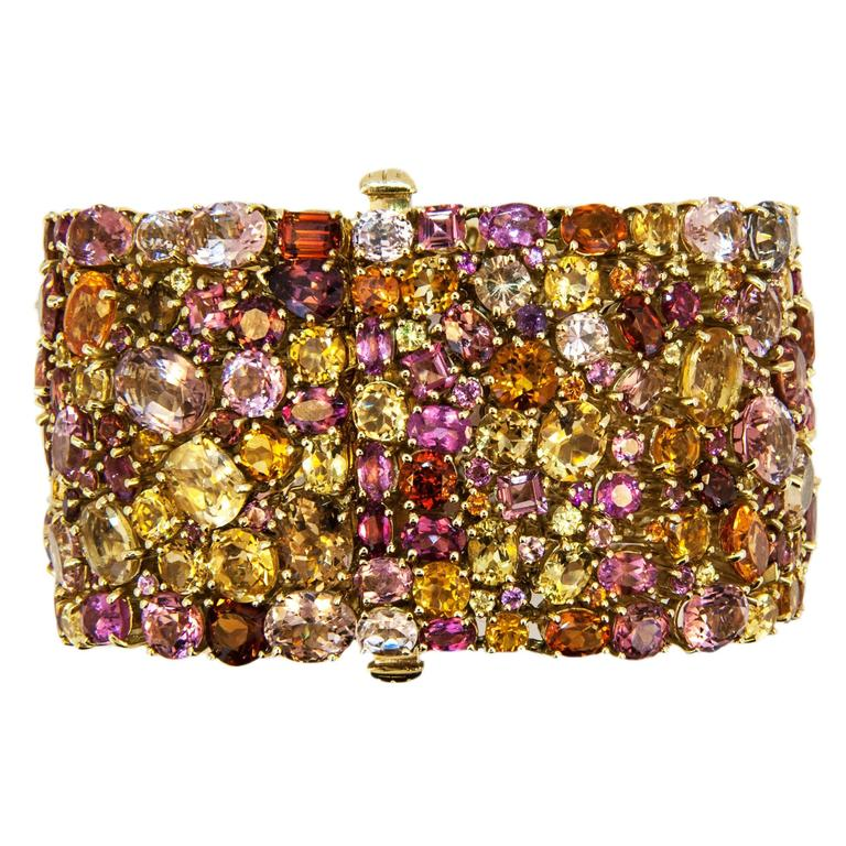 Laura Munder 176.62 carat Multicolored Faceted Gemstone Gold Bracelet 4