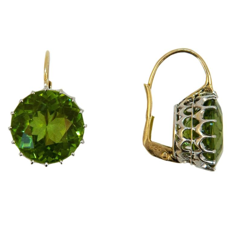 Laura Munder 13.5 millimeter Peridot Drops on a Wire Gold Earrings 2