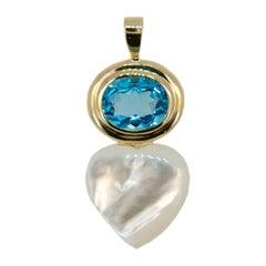 Laura Munder Blue Topaz Mother-of-Pearl Gold Pendant
