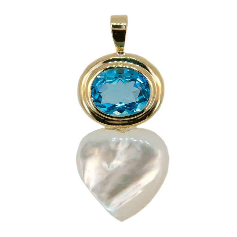 Laura Munder Blue Topaz Mother-of-Pearl Gold Pendant For Sale
