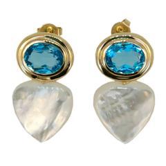 Laura Munder Blue Topaz Mother of Pearl Gold Earrings