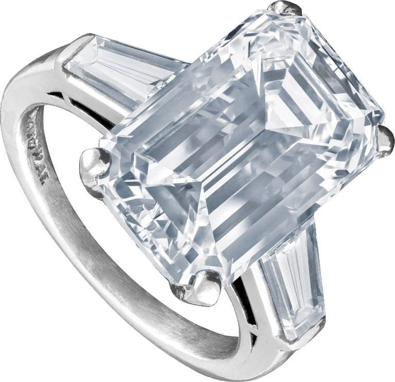 GIA Certified 10.03 Carat Emerald Cut Diamond Platinum Ring