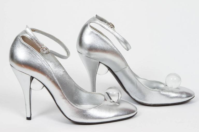 Charles Jourdan Silver Leather High Heels W Lucite Ball