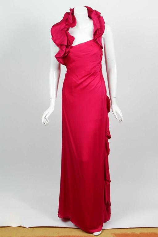 Valentino Fuchsia Silk Evening Gown Dress w/Asymmetric Collar and ...