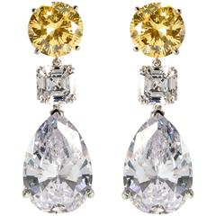 Stunning Large Faux Canary Yellow White Diamond Drop Earrings