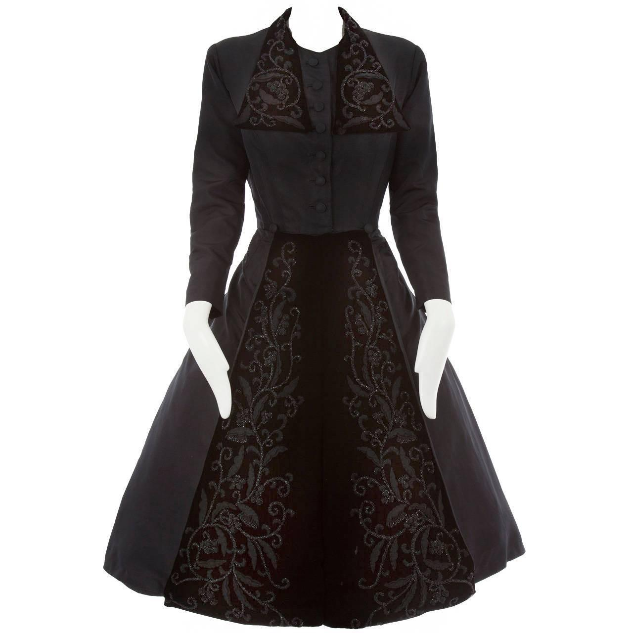 Dior haute couture black silk taffeta dress coat autumn for To have and to haute dress
