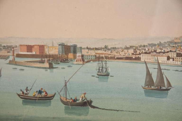 Pair of 19th century Italian Neapolitan views, gouache on paper.
