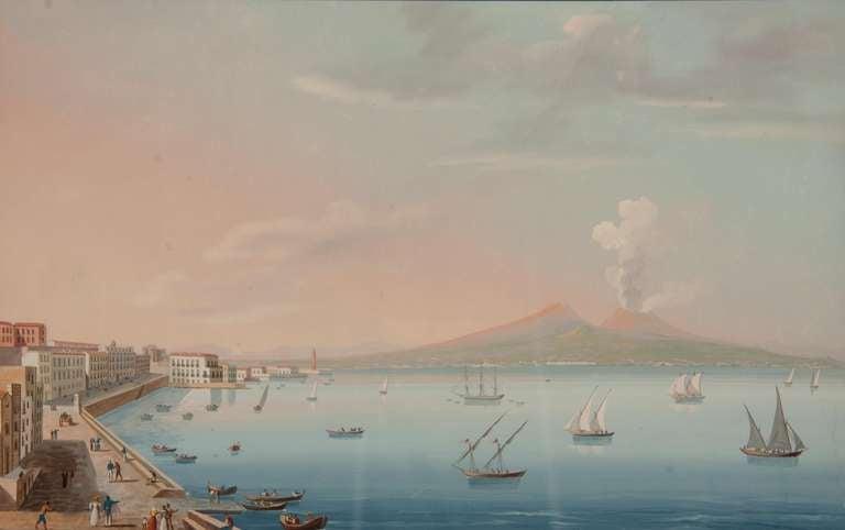 Italian Neapolitan Gouache Views For Sale 1