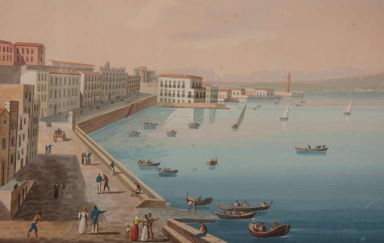 Italian Neapolitan Gouache Views For Sale 2
