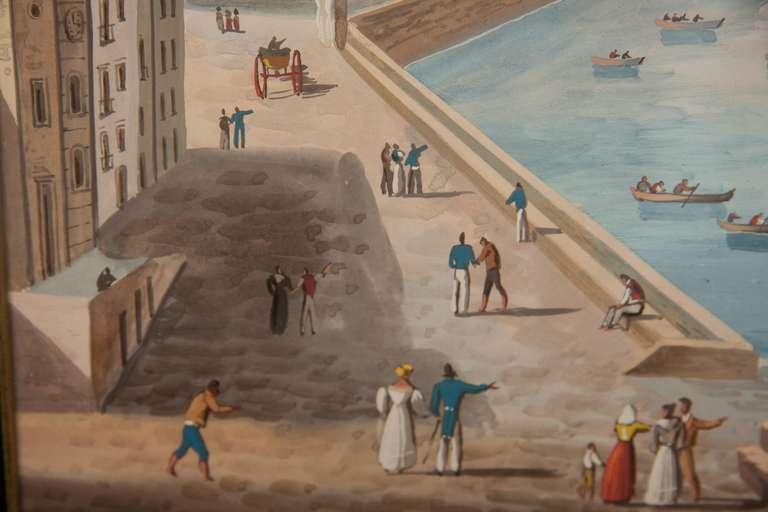 Italian Neapolitan Gouache Views For Sale 3